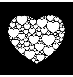 white hearts on black background vector image