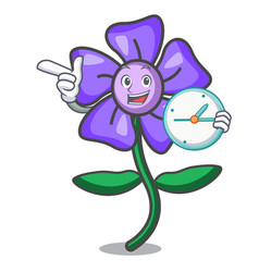 With clock periwinkle flower character cartoon vector