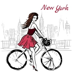 Woman on bicycle vector