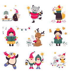 xmas animals cartoon characters collection merry vector image