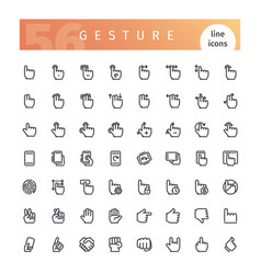 gesture line icons set vector image