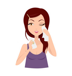 moisturisation girl applying wet wipes vector image vector image