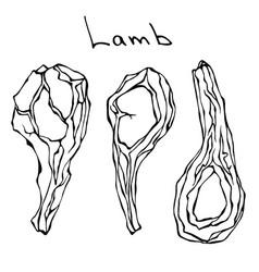 Raw lamb chop ribs set realistic vector