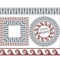 Set 4 Brushes Greek Meander patterns vector image
