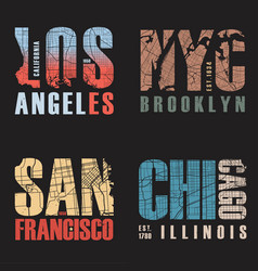 Set of us cities t-shirt designs vector
