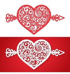 vintage heart with an arrow element vector image vector image