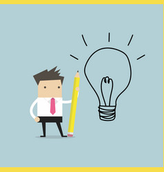 businessman use pencil to draw a light bulb vector image