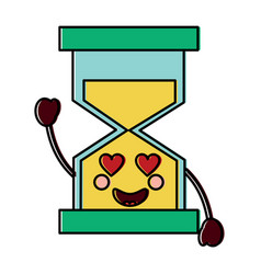 hourglass heart eyes kawaii icon imag vector image