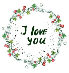 Love you postcard with nice floral design and vector image vector image