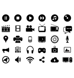 Multimedia black and white icons set vector image