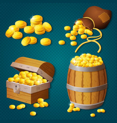 old wooden chest barrel old bag with gold coins vector image vector image