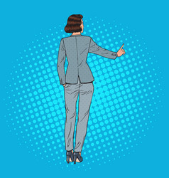 pop art business woman pressing virtual button vector image vector image