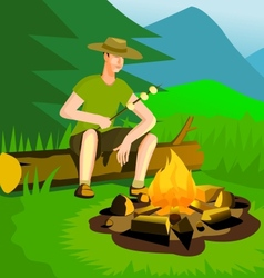 Relaxing man near campfire vector image