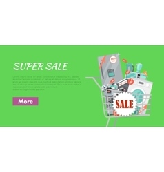 Super Sale Banner Household Appliances in Trolley vector image vector image