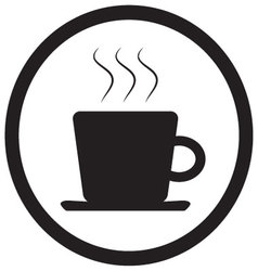Tea and coffee cup icon black white vector image vector image