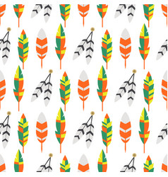 tribal flat feather bird vintage colorful ethnic vector image