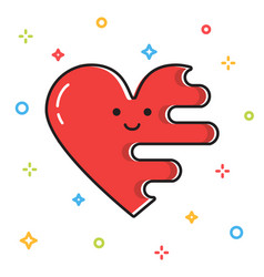 melting cute red heart valentine day card vector image vector image