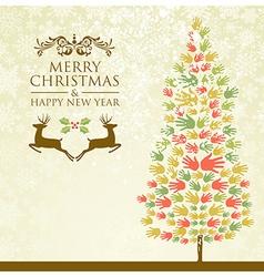 Merry Christmas pine tee hands vector image vector image