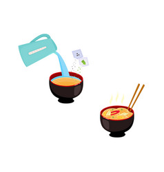 set of images with step by step cooking vector image