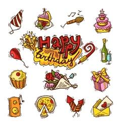 Birthday sketch color icon set vector image