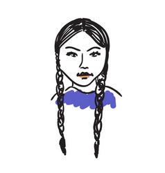Eskimo woman hand drawn isolated icon vector
