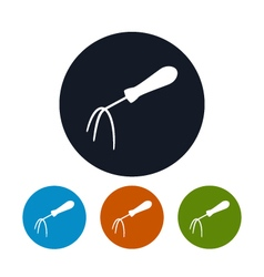 Four Types of Round Icons Hand Rake vector image