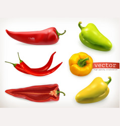 pepper vegetable 3d icon set vector image