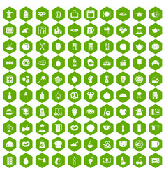 100 breakfast icons hexagon green vector