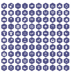 100 love icons hexagon purple vector