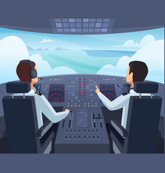 airplane cockpit pilots sitting front of vector image