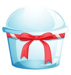 An empty disposable container with a red ribbon vector image