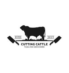 Angus cattle farm logo and cutting vector