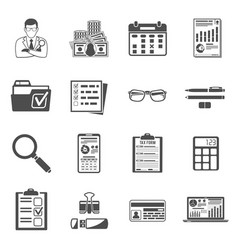 auditing tax accounting icons set vector image