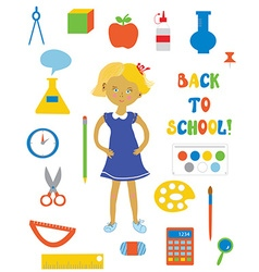 Back to school supplies and girl set vector