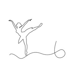 ballerina dancing outline black vector image