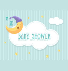 bashower invitation template cute card vector image