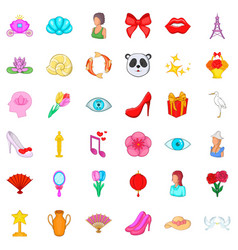 beauty icons set cartoon style vector image