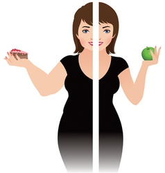 Before and after a diet vector image