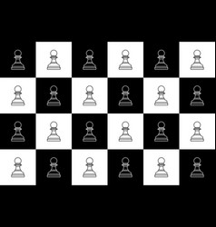 black and white chess seamless pattern chess pawn vector image