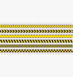 black and yellow seamless warning stripe line pack vector image