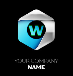 blue letter w logo in the silver-blue hexagonal vector image