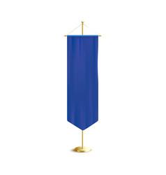 Blue vertical pennant or flag on rack 3d vector