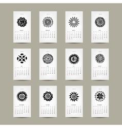 Calendar grid 2015 for your design ethnic ornament vector