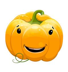 cartoon fun toothy smile pumpkin character vector image