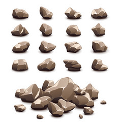 cartoon stones icons set vector image