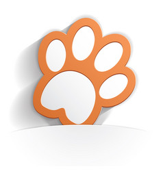 cat paw icon paper vector image