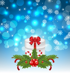Christmas gift box with holiday decoration - vector image