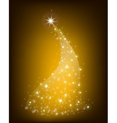 Christmas gold tree with stars vector image