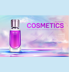 Cosmetics bottle on cloudy sky background banner vector