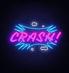 crash neon text design template comic vector image